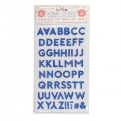 Blue Padded Cutout Alphabet Stickers Super Sparkly with Luxury Glitter Finish