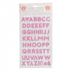 Pink Padded Cutout Alphabet Stickers Super Sparkly with Luxury Glitter Finish