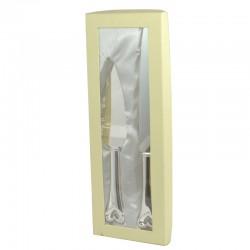 Wedding Cake Knife & Cake Server Gift Set In Cream Gift Box