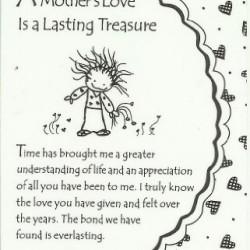 A Mothers Love Is A Lasting Treasure Keepsake Wallet Card (WT322) Blue Mountain Arts