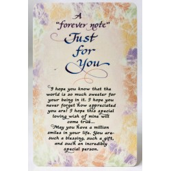 A Forever Note Just For You Keepsake Wallet Card (WW407) Blue Mountain Arts