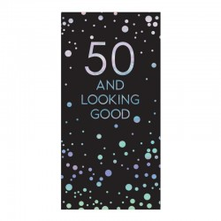 50th Birthday 80g Chocolate Bar Card With Silver Stars