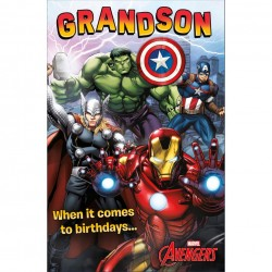 Grandson Marvel Avengers Birthday Card