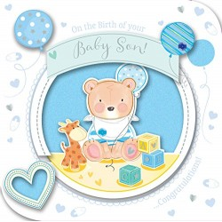 On The Birth Of Your Baby Son! Greeting Card