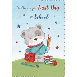 Good Luck On Your First Day At School Teddy Bear Greeting Card By Piccadilly