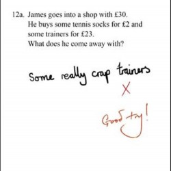 Genius James Crap Trainers Maths test Humorous Blank Funny Greeting Card