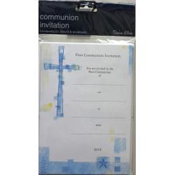 Blue First Communion Invitation Packs