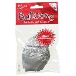 Silver Anniversary Pack of Red Latex Balloons