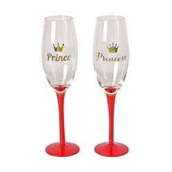 "Set of 2 Champagne Flutes ""Prince & Princess"" By Lasting Memories"